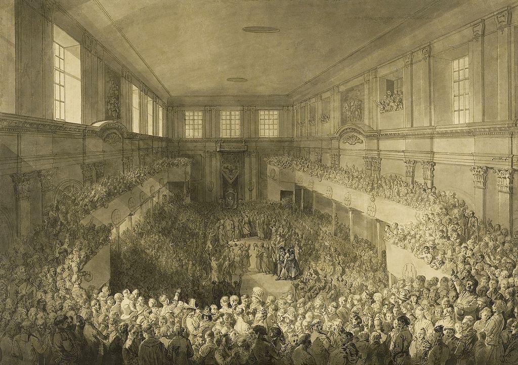 Zaprzysiężenie Konstytucji 3 Maja W Sali Senatorskiej Na Zamku Królewskim W Warszawie Rysunek Piotra Norblina 1024x721