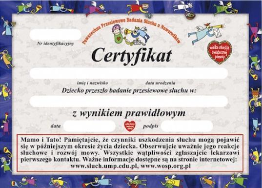 badanie słuchu certyfikat niebieski